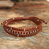 Silver accent wristband bracelet, 'Desert Brown'