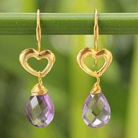 Gold vermeil amethyst heart earrings, 'Time to Love' - Gold Vermeil and Amethyst Dangle Earrings