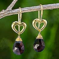 Gold vermeil garnet heart earrings, 'Time to Love' - Handcrafted Heart Shaped Vermeil Garnet Earrings