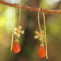 Gold plated carnelian flower earrings, 'Frangipani Splendor' - Fair Trade Gold Plated Carnelian Earrings