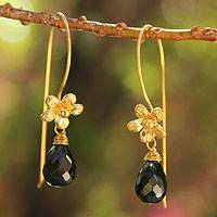 Gold plated spinel flower earrings, 'Frangipani Splendor'