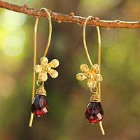 Gold plated garnet flower earrings, 'Frangipani Splendor' - Artisan Crafted Floral Gold Plated Dangle Earrings
