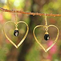 Gold vermeil onyx heart earrings, 'Love's Secrets' - Gold vermeil onyx heart earrings