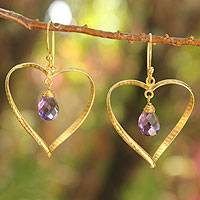 Gold vermeil amethyst heart earrings, 'Love's Secrets' - Gold Vermeil Amethyst Heart Earrings