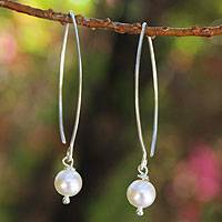 Cultured pearl dangle earrings, 'Precious White' - Pearl and Sterling Silver Drop Earrings from Thailand