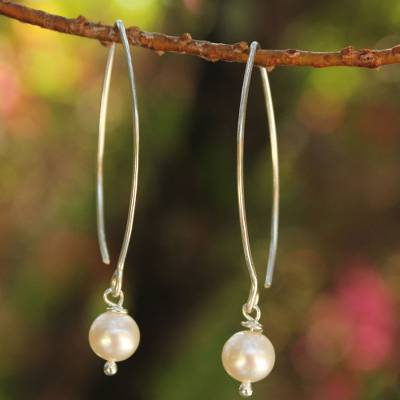 Cultured pearl dangle earrings, 'Precious White' - Pearl and Sterling Silver Dangle Earrings