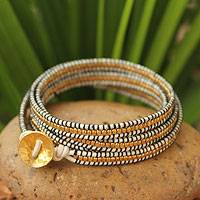 Gold plated leather wrap bracelet, Golden White