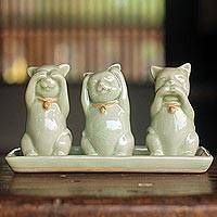 Celadon ceramic figurines, 'Cats Shun Evil' (set of 3)