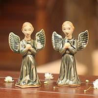 Celadon ceramic figurines, 'Jade Angel Prayer' (pair) - Handcrafted Celadon Ceramic Angel Sculptures (Pair)