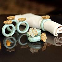 Celadon ceramic napkin rings, 'Vanda Orchid' (set of 6)