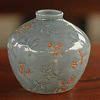 Celadon ceramic vase, 'Autumn in My Heart' - Floral Celadon Ceramic Vase