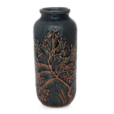 Celadon ceramic vase, 'Golden Tree' - Fair Trade Celadon Ceramic Vase