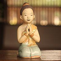 Celadon ceramic statuette,