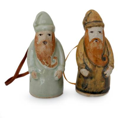 Celadon ceramic Christmas ornaments (Pair)