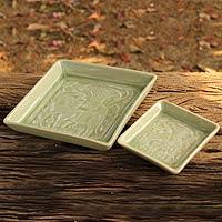 Celadon ceramic canape plates, 'Jade Elephants' (pair) (Thailand)