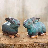 Celadon ceramic figurines Turquoise Rabbits pair Thailand