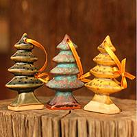 Celadon ceramic Christmas ornaments, 'Winter Pines' (set of 3)