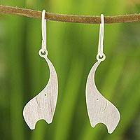 Sterling silver dangle earrings, 'Elephant Greeting' - Artisan Crafted Sterling Silver Dangle Earrings