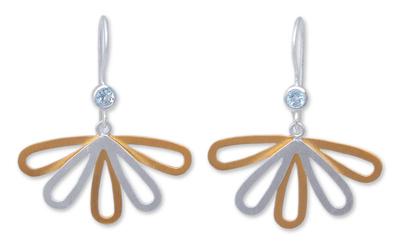 Gold Plated Blue Topaz Dangle Earrings