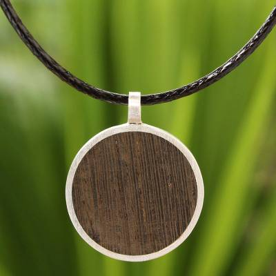 Mens wood pendant necklace, Moon Hero