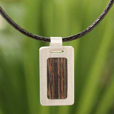 Men's wood pendant necklace, 'Urban Hero' - Men's Wood Pendant Necklace