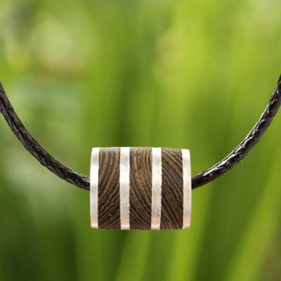 Wood pendant necklace, 'Forest Hero' - Wood Cord Pendant Necklace with Sterling Silver