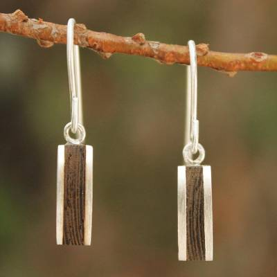 Wood dangle earrings, 'Thai Wilderness' - Unique Wood Dangle Earrings