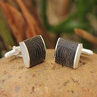 Sterling silver cufflinks, 'Majestic Nature' - Handcrafted Modern Sterling Silver Wood Cufflinks
