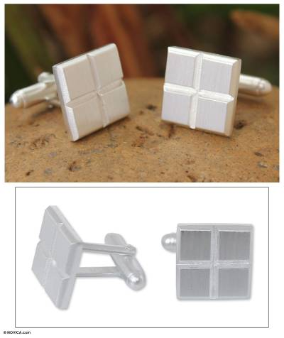 Sterling silver cufflinks, 'Squared Geometry' - Sterling silver cufflinks
