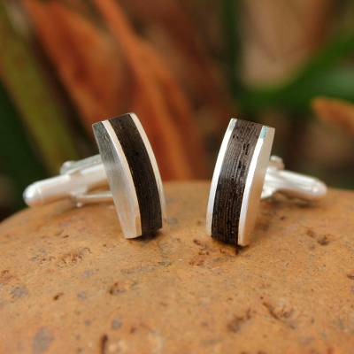 Sterling silver cufflinks, 'Naturally Rugged' - Sterling silver cufflinks