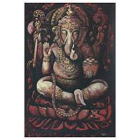 'Blessed Ganesha II' - Religious and Spiritual Expressionist Painting