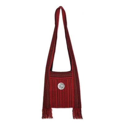Cotton shoulder bag, 'Crimson Lands' - Handmade Red Shoulder Bag