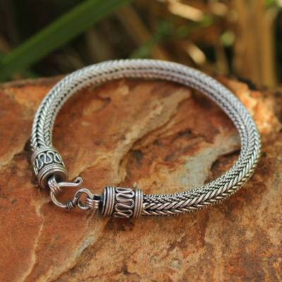 Mens sterling silver bracelet, Lanna Hero