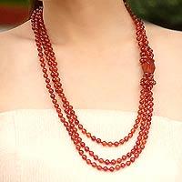 Carnelian beaded necklace,