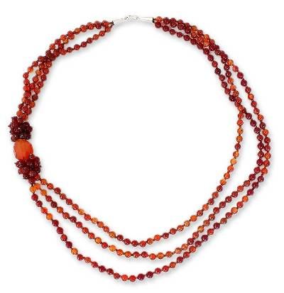Carnelian Beaded Necklace from Thailand