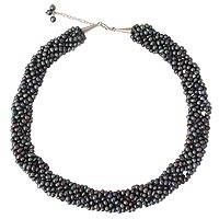 Cultured pearl beaded necklace, 'Iridescent Grey'