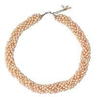 Pearl beaded necklace, 'Iridescent Peach'