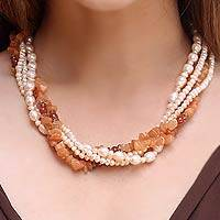 Carnelian and pearl necklace, 'Peach Honey' - Carnelian and pearl necklace