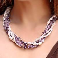 Cultured pearl and amethyst torsade necklace, 'Iris Garland'