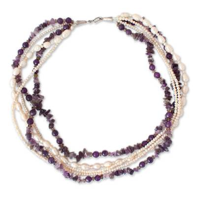 Pearl and Amethyst Torsade Necklace