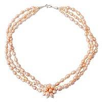 Cultured pearl strand necklace, 'Peach Blossom'
