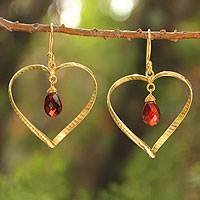 Gold vermeil garnet heart earrings, 'Love's Secrets' - Gold vermeil garnet heart earrings
