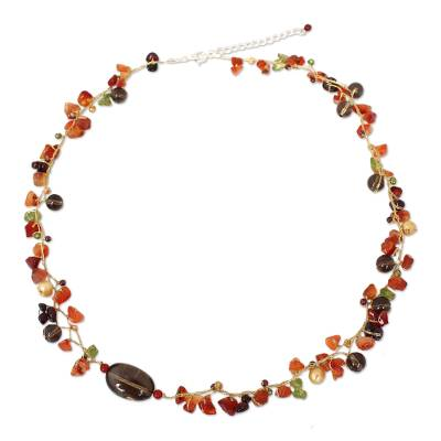 Cultured pearl and carnelian beaded necklace