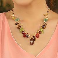 Cultured pearl and gemstone beaded necklace, 'Jungle Fruit' (Thailand)