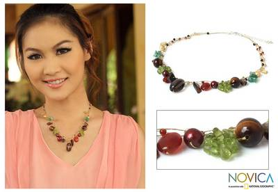 Cultured pearl and gemstone beaded necklace, 'Jungle Fruit' - Pearl and Peridot Beaded Necklace