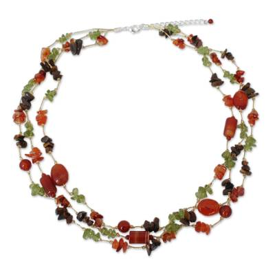 Peridot and Carnelian Beaded Necklace