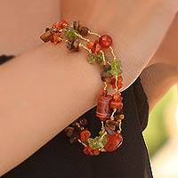 Peridot and tiger's eye beaded bracelet, 'Exciting Times' - Hand Made Beaded Carnelian and Peridot Bracelet