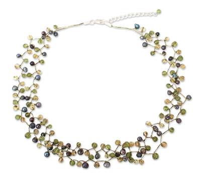 Beaded Pearl and Peridot Necklace