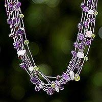 Amethyst and rose quartz strand necklace, 'Lilac Mousse'