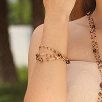 Carnelian and garnet beaded bracelet,